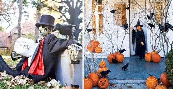 I'm SO doing the craft on the right!  Modifying with foam pumpkins (to hide battery packs for orange lights in the branches) and adding some webbing to create a spooky forest up to our front door.  FUN!