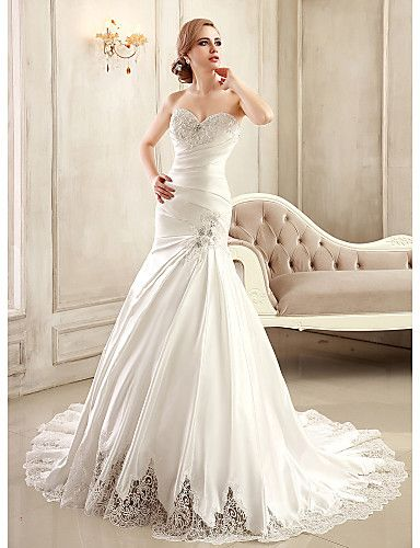 Mermaid Trumpet Sweetheart Chapel Train Satin Wedding Dress With Beading Liques Side D By