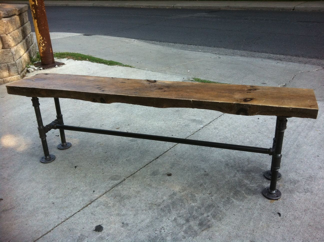 Reclaimed Wood Bench With Pipe Legs By Leventhalvermaat On Etsy Furniture Pinterest