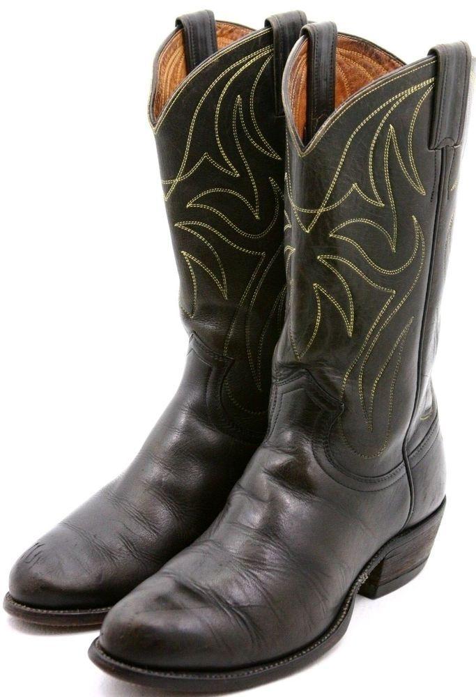 e314260f57d Justin White Label Mens Cowboy Boots Size 8.5 E Black Leather ...