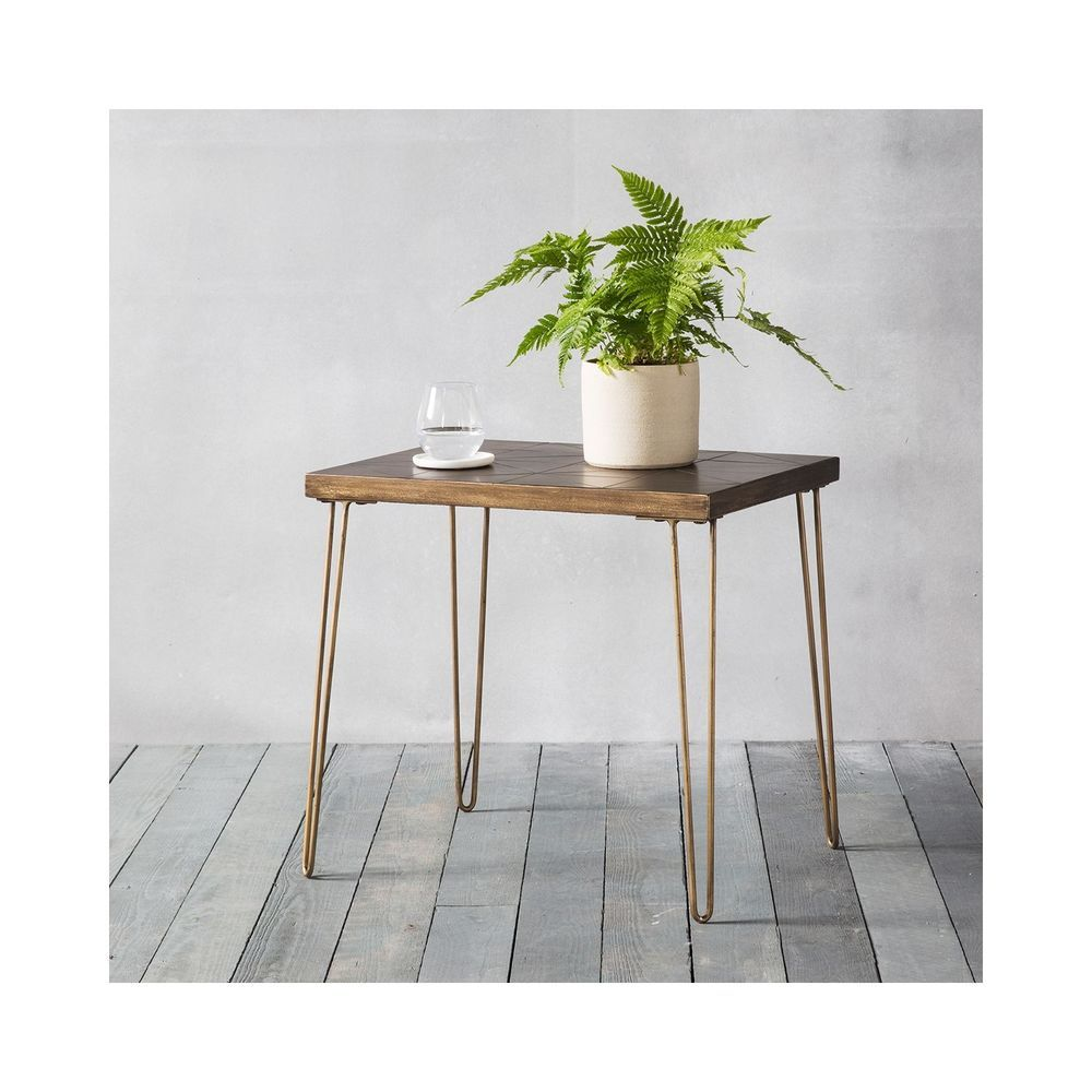 industrial side table gold metal legs tiles table top living room rh pinterest com