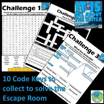 Oceans ESCAPE ROOM - 5 Oceans, 10 Challenges, Answer Key ...