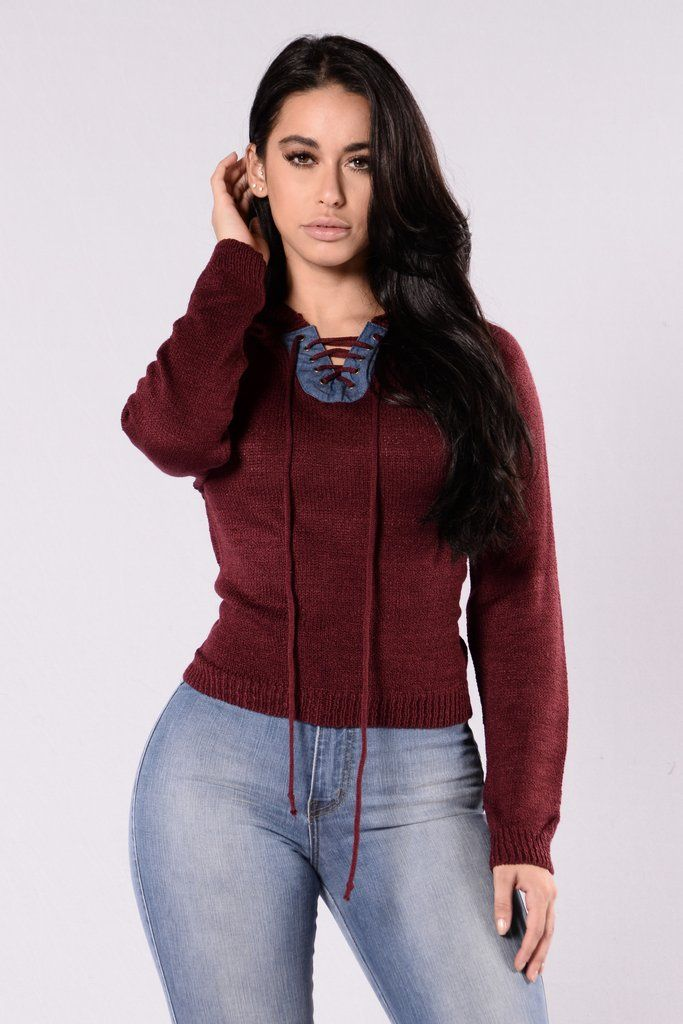 1b40ecfaad Available in Burgundy - Knit Hooded Sweater - Long Sleeve - Contrast Denim  Accent Lace Up - 100% Acrylic