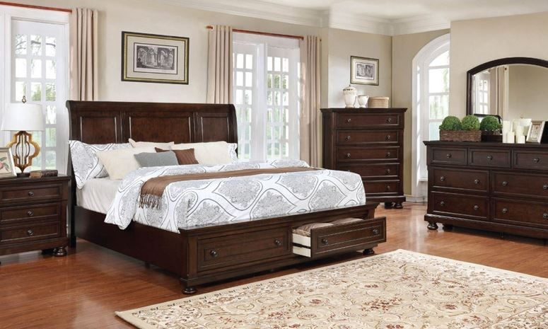 5 piece bedroom set includes queen storage bed 7 drawer dresser