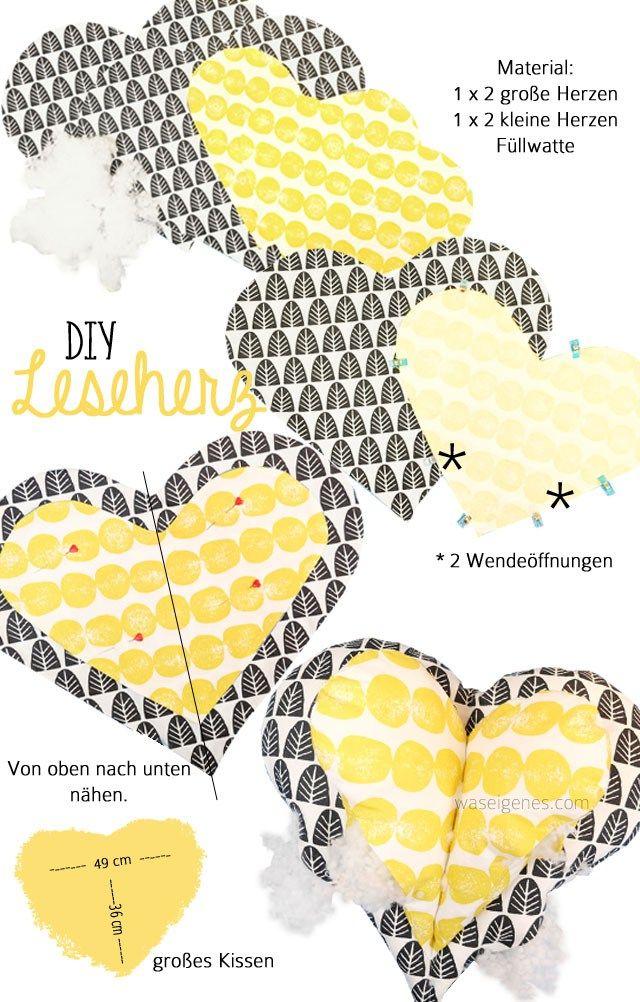 Leseherz Kissen | Leseherz | Pinterest | Nähen, Kissen nähen und Diy ...