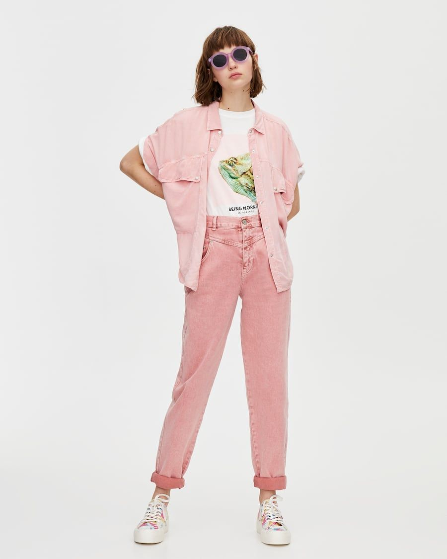 2e90289f5 Pink gaucho jeans in 2019 | wardrobe. | Denim fashion, Embroidered ...