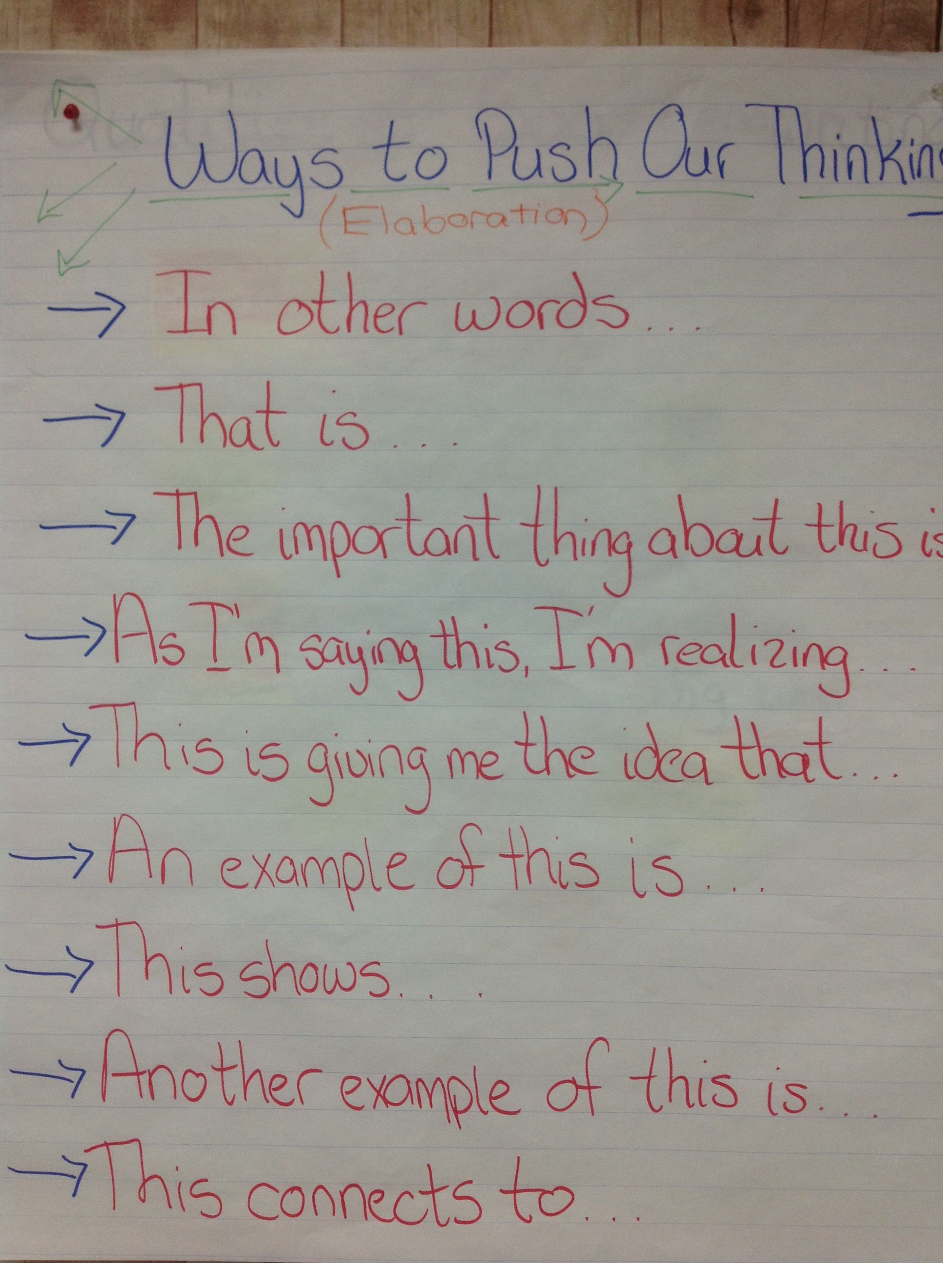 Ways to push our thinking Ways to