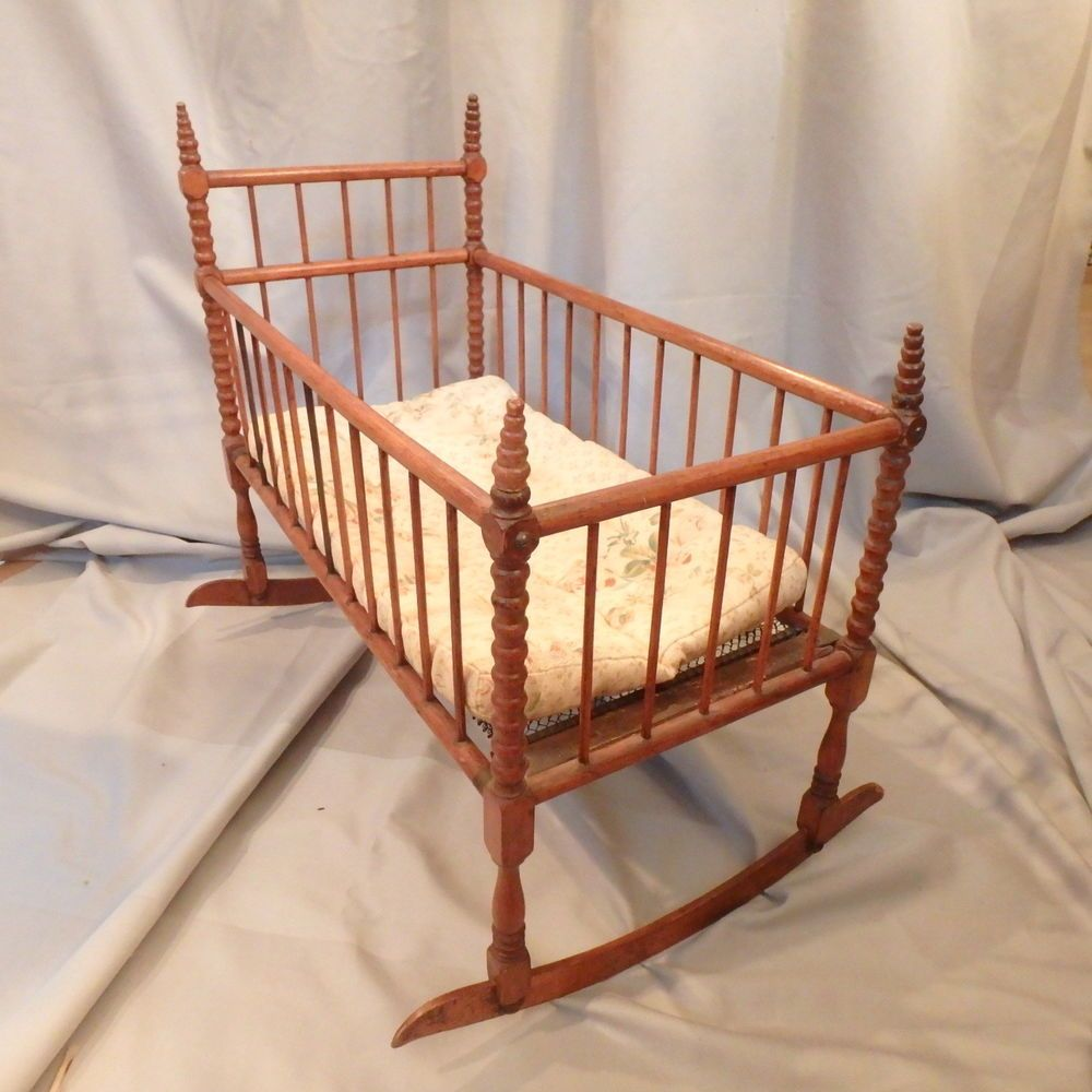 antique vtg spool bed doll s rocking cradle crib w mattress