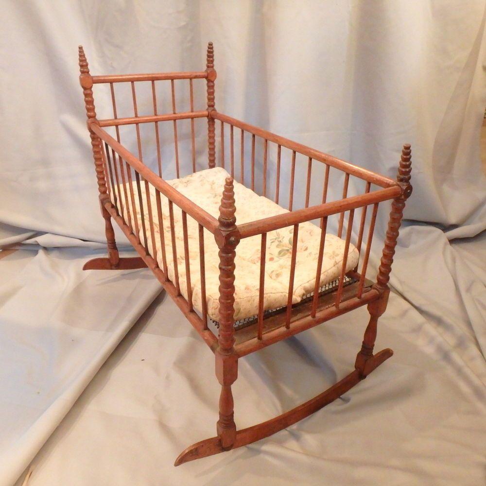 antique vtg spool bed doll s rocking cradle crib w mattress