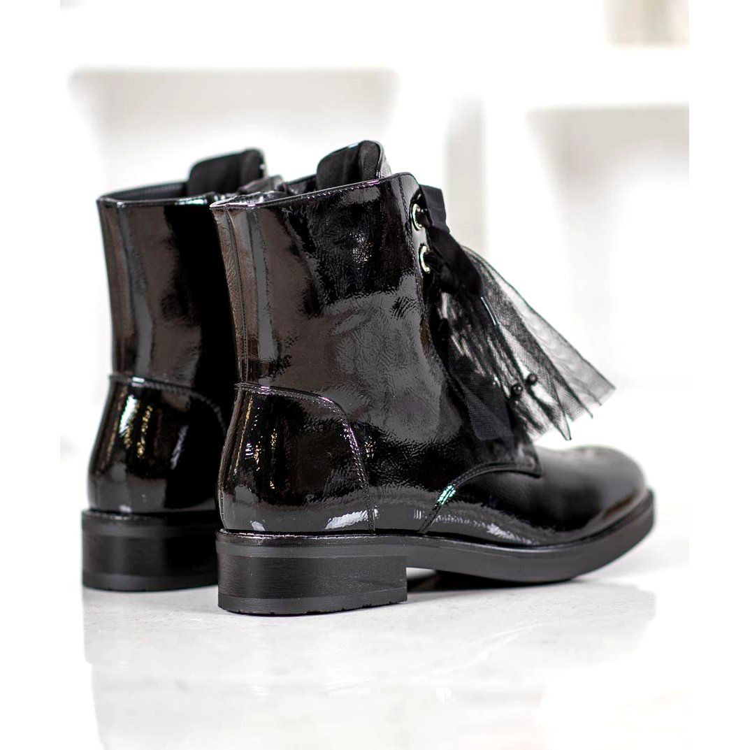 Shelovet Patent Leather Workers Black Patent Leather Black Boots Women Boot Shoes Women