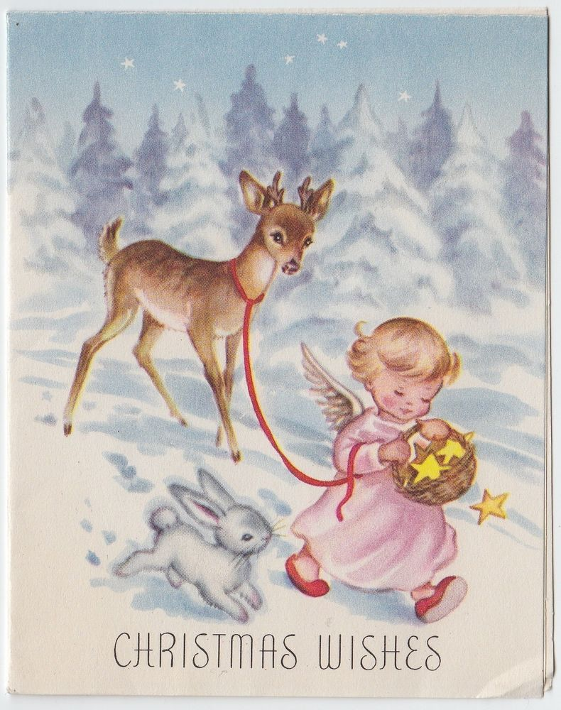 Vintage Greeting Card Christmas Snow Deer Angel Bunny e587