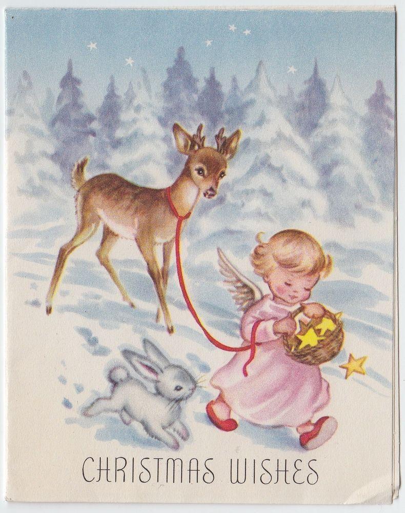 Vintage Greeting Card Christmas Snow Deer Angel Bunny E587 Vintage