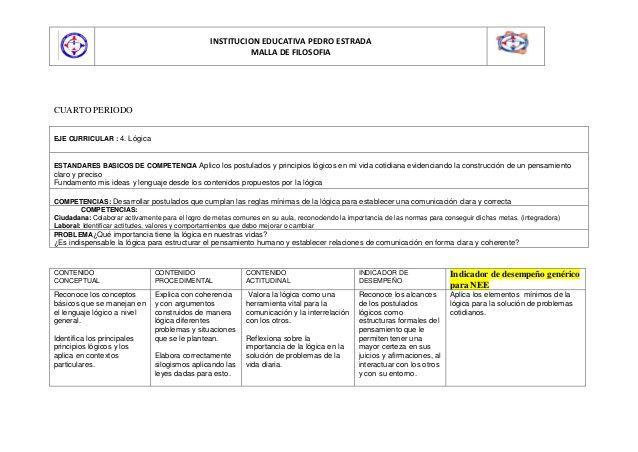 INSTITUCION EDUCATIVA PEDRO ESTRADA                                                           MALLA DE FILOSOFIACUARTO PER...