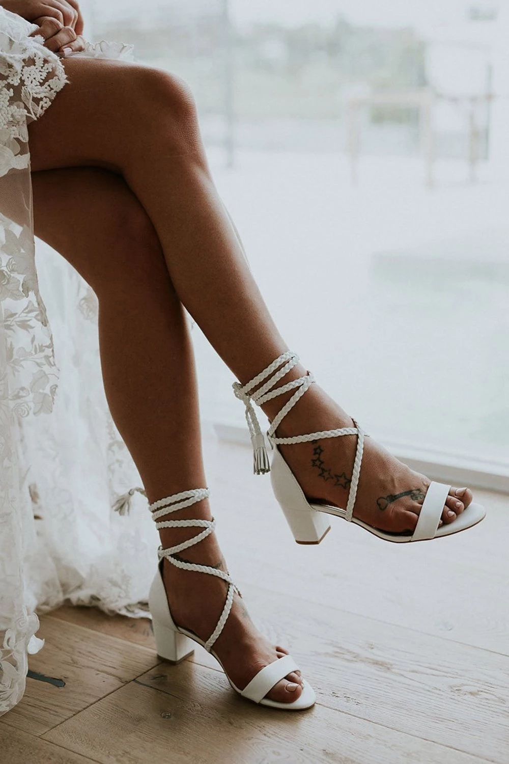 White Block Heel Tie Up Sandals FloralKini Wedding