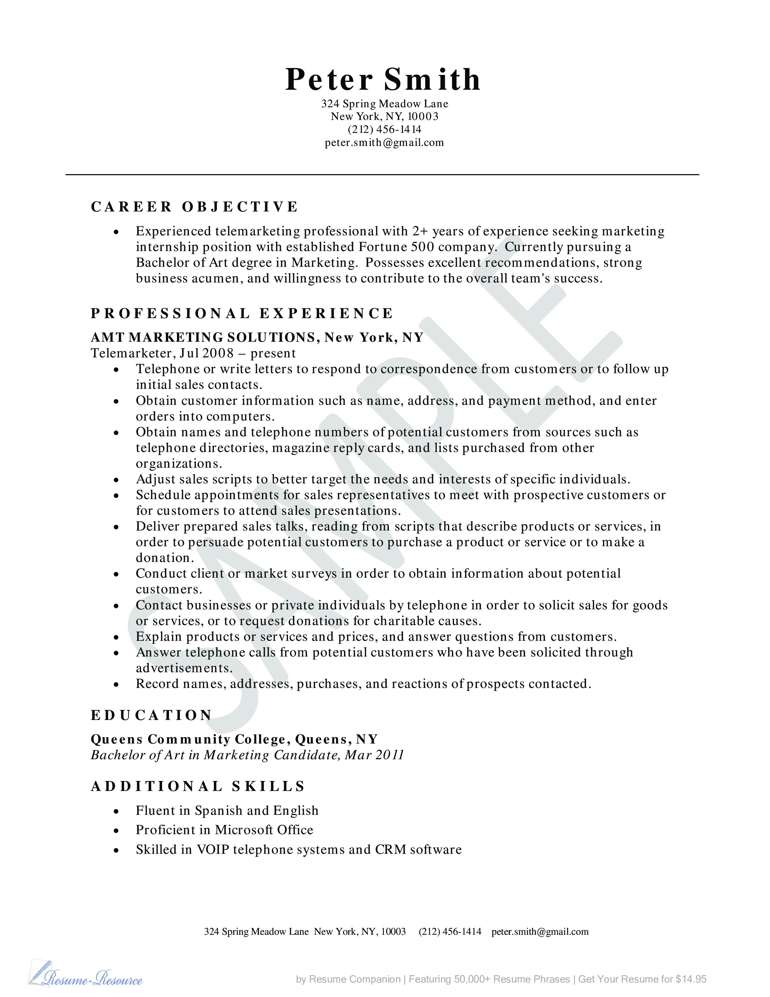 telemarketer resume example business resume example - Telemarketing Resume Samples