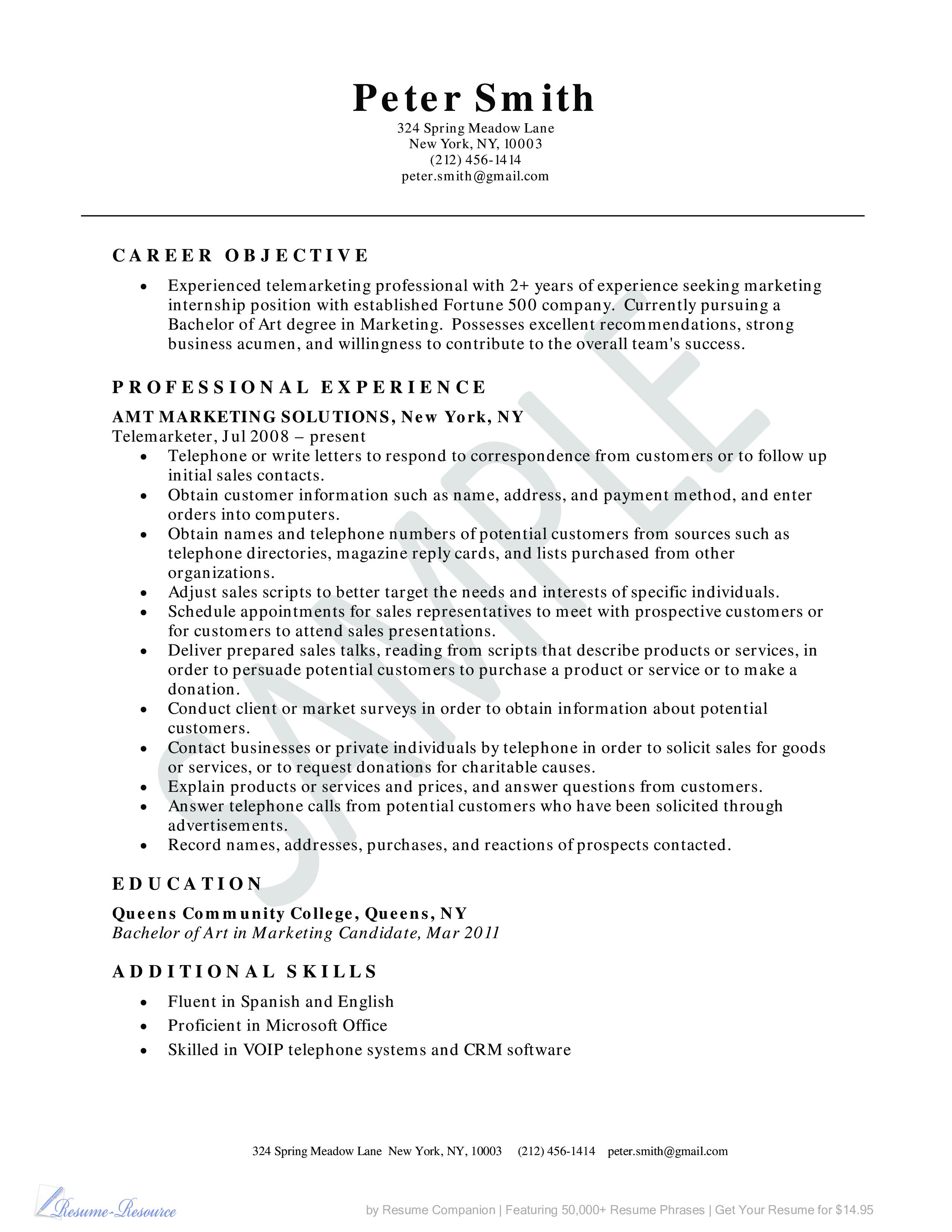 telemarketer resume example business resume example - Telemarketing Resume Samples
