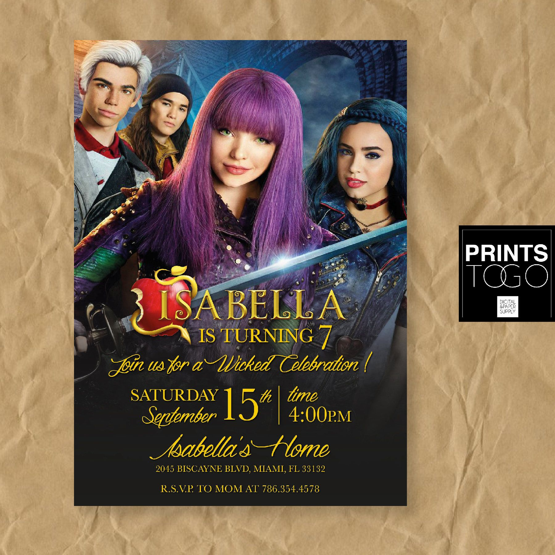 Descendants Invitation Disney 2 Invite Birthday Party Mal Evie Uma By PrintsToGo On Etsy