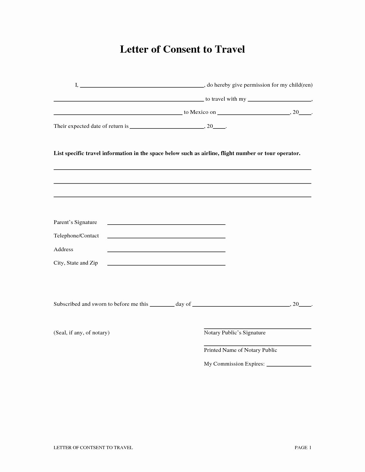 Travel Authorization Form Template In 2020 Child Travel Consent