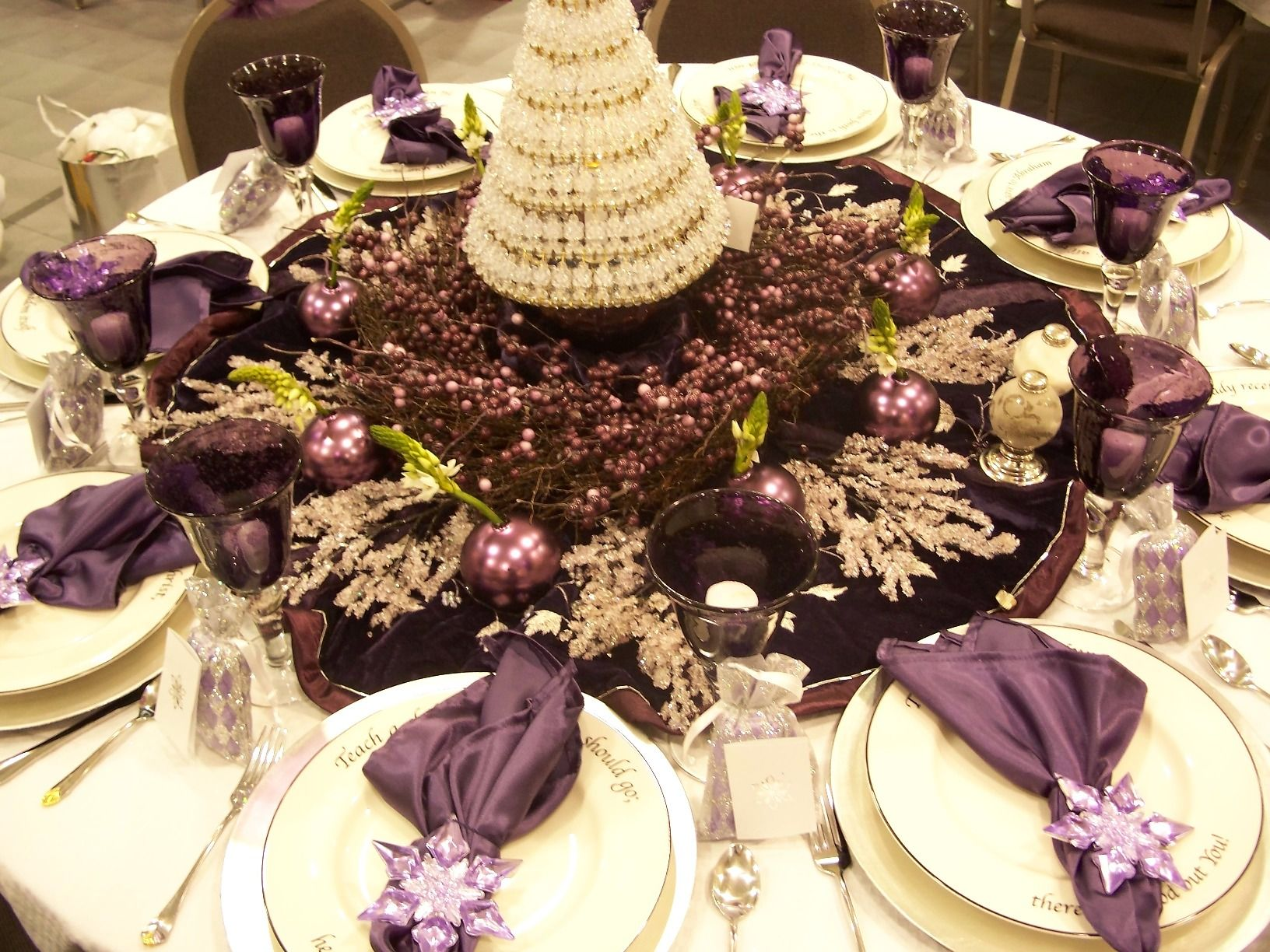 Nontraditional Christmas Color Palettes Holiday Table Decorations Purple Christmas Decorations Christmas Decorations Dinner Table