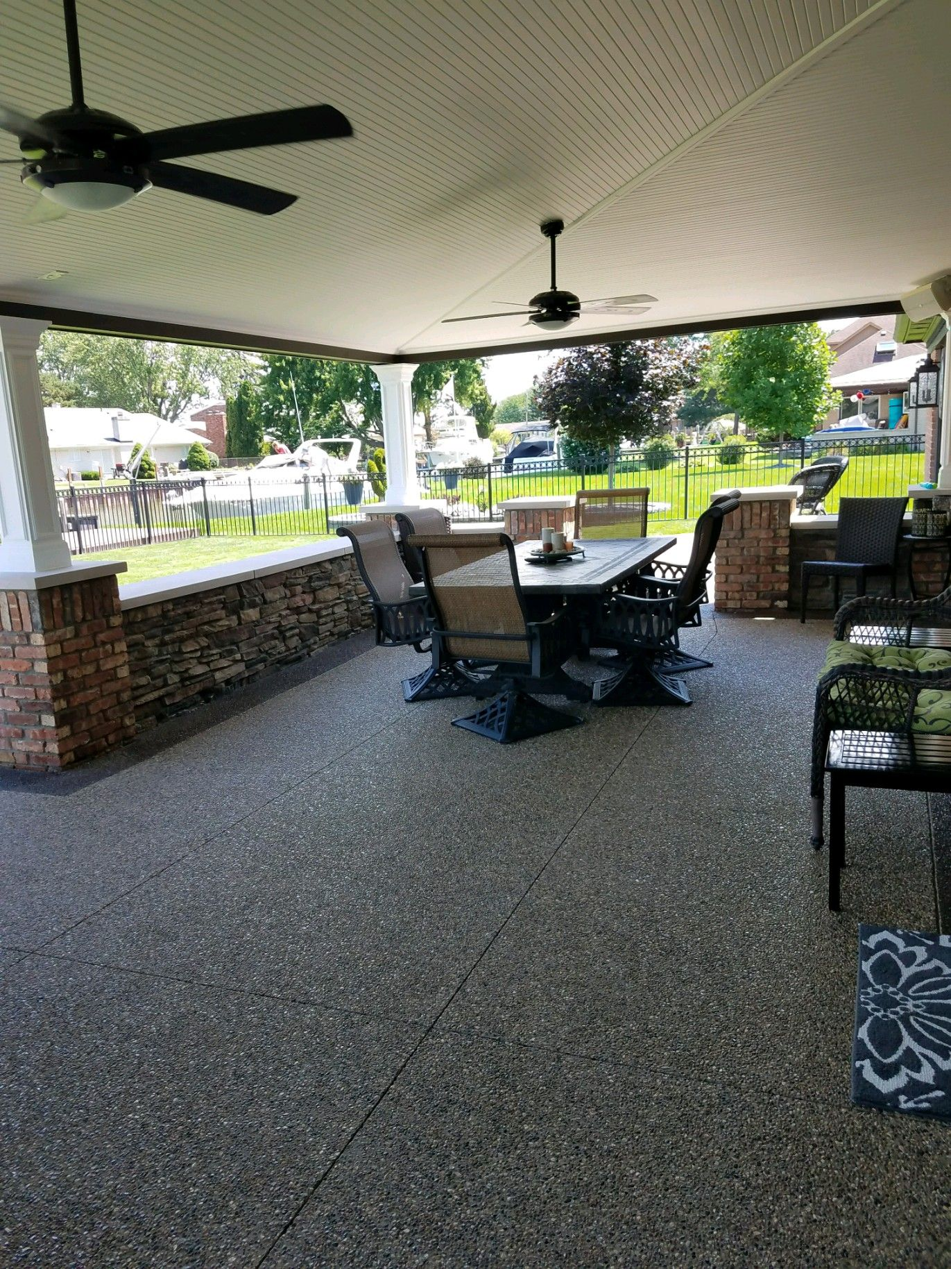 A beautiful exposed aggregate patio project we did for a ... on Outdoor Living Contractors Near Me id=98168