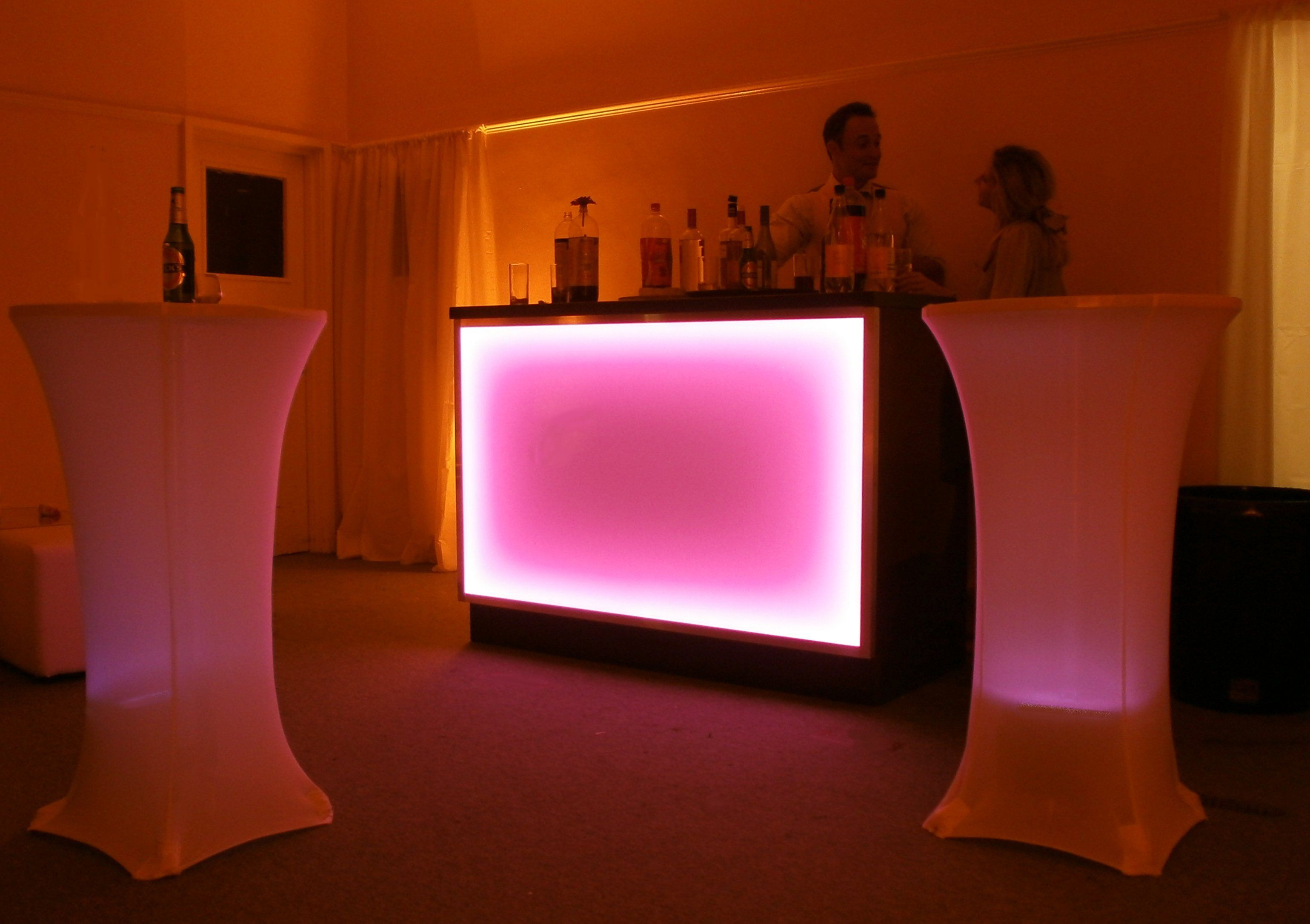 Illuminated bar for birthday weddings and parties in a marquee