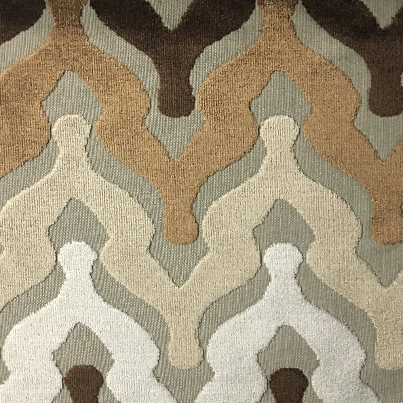 Leicester Bold Chevron Cut Velvet Upholstery Fabric by the Yard