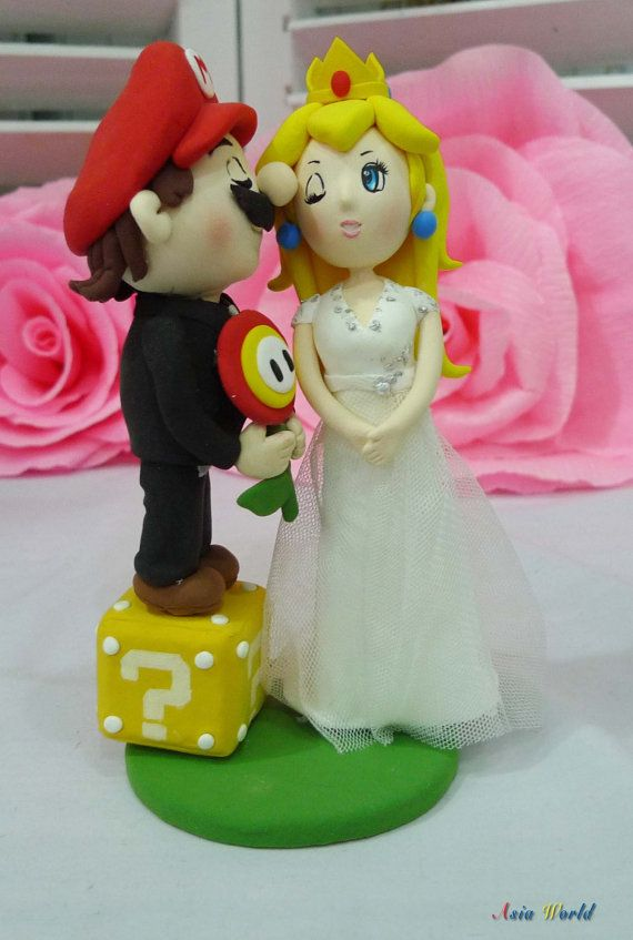 Wedding cake topper Super Mario and Princess Peach with Fire flower and coin box clay doll, clay figurine decor, clay miniature wedding gift on Etsy, $92.50