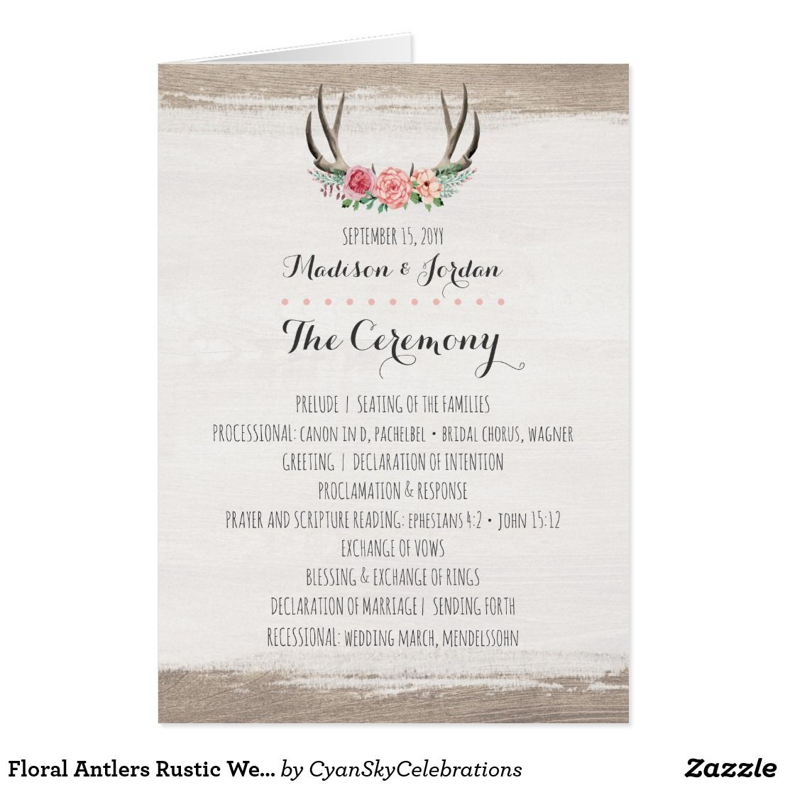 Floral Antlers Rustic Wedding Program Schedule Rustic Wedding