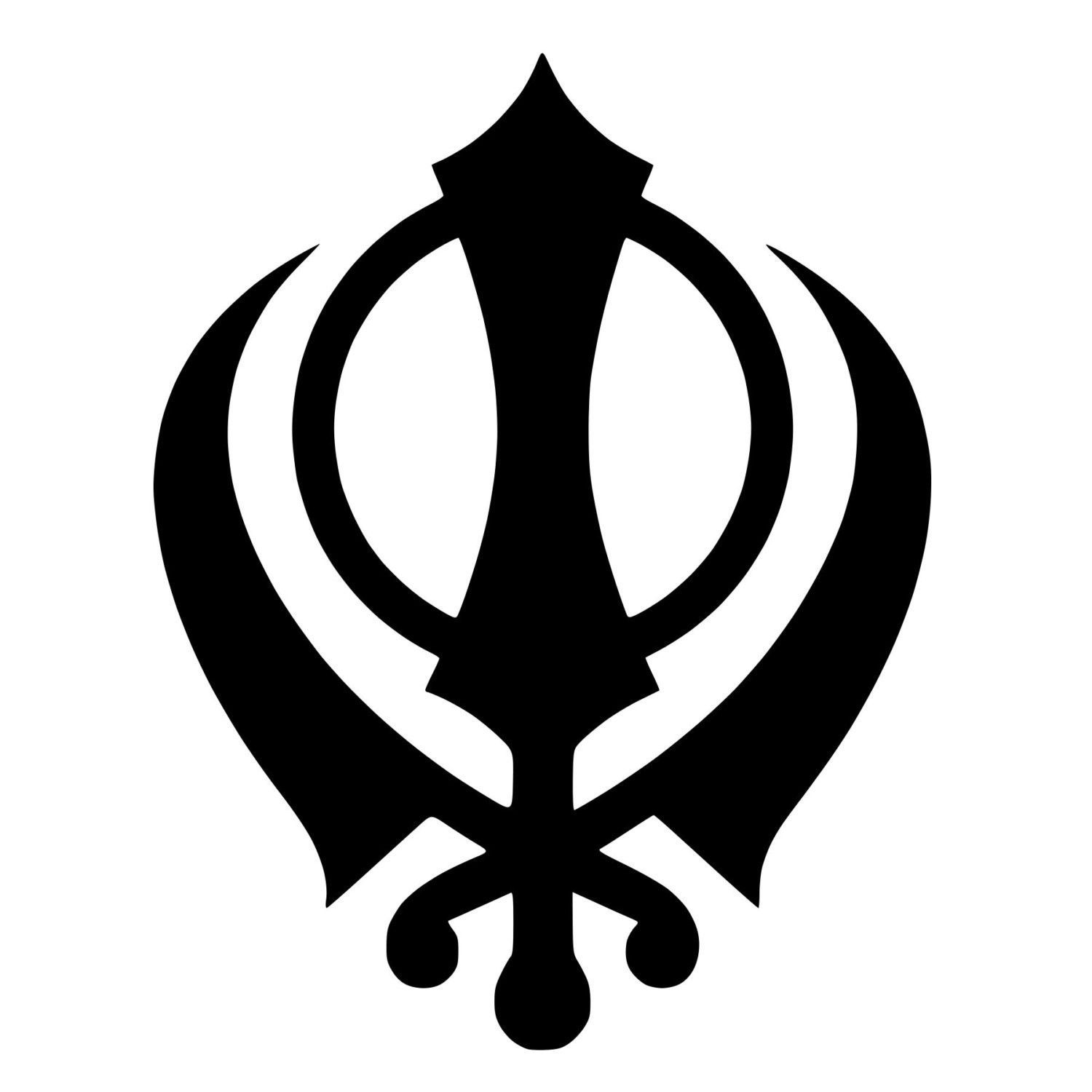 Sikh khanda sword symbol die cut decal car window wall bumper the khanda is a symbol used in sikh religion representing power and purity because of the meaning it is also used as a political symbol biocorpaavc Choice Image