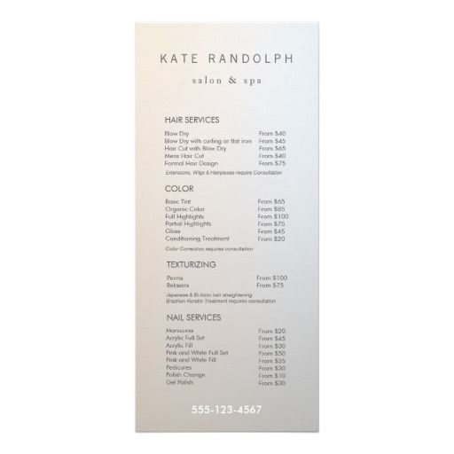 Modern Minimalist Salon Price List Service Menu | Zazzle.com in 2019 ...