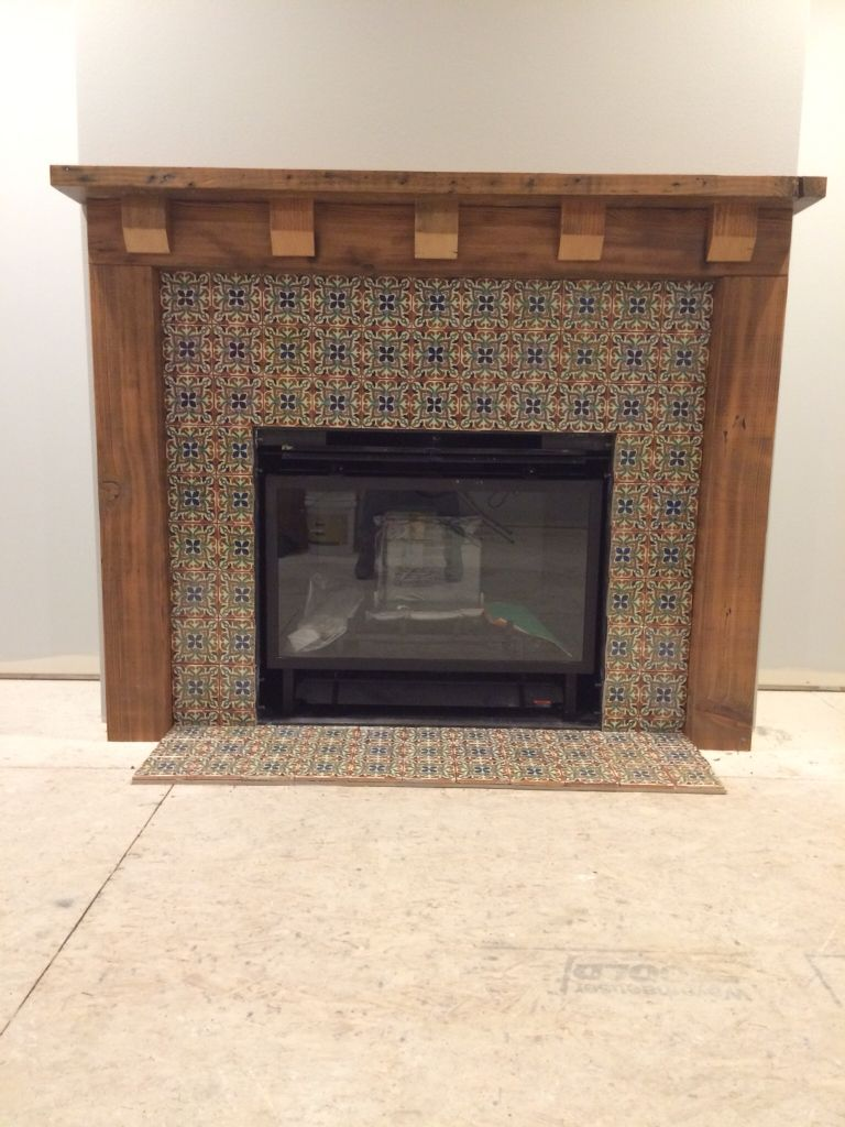Fireplace Mantle Of Reclaimed Fir And Mexican Tile