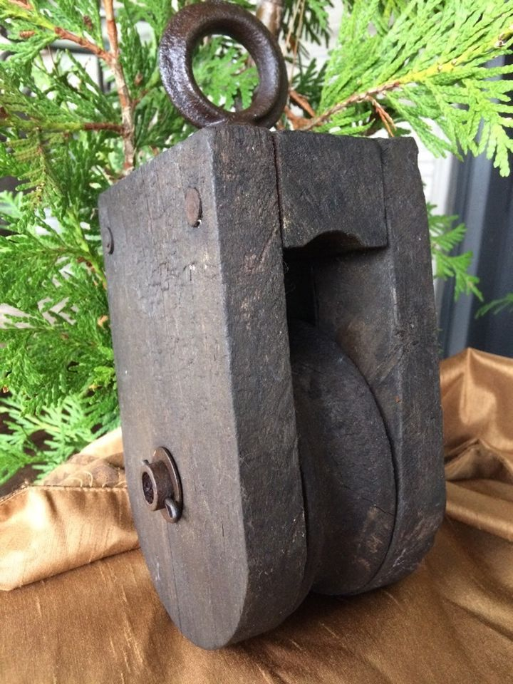 Antique Old Wood Hay Barn Pulley Farm Tool Well Cabin Primitive Ranch