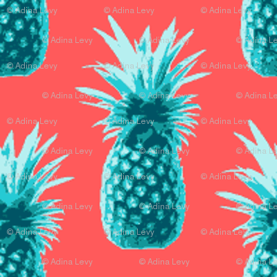 Wallpaper Pineapples retro style - teal on coral ...