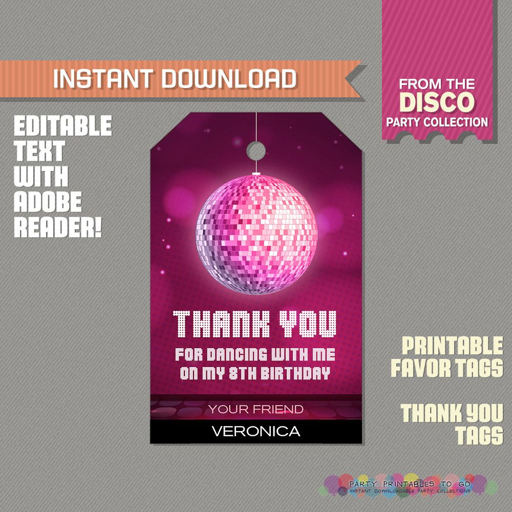 birthday party invitations printable%0A Disco Party Favor Tags   Disco Thank you Tag  Disco Dance Birthday  Disco  Dance Party  Edit and print at home with Adobe Reader