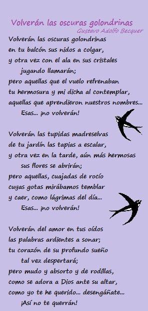 Volverán Las Oscuras Golondrinas Gustavo Adolfo Becquer Poesía Poemas Frases Bonitas