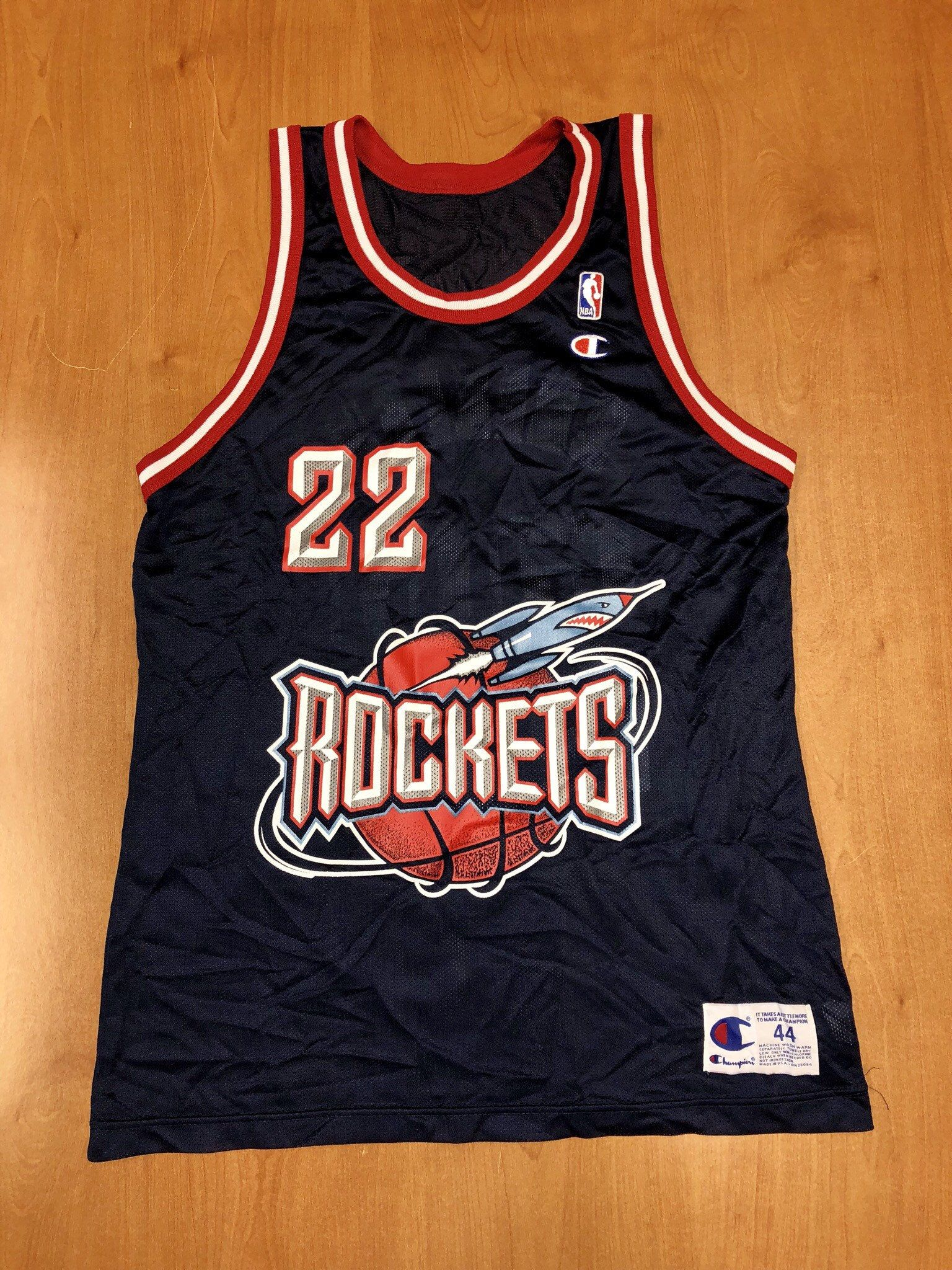31e486ab82e Vintage 1996 - 1998 Clyde Drexler Houston Rockets Champion Jersey Size 44 hakeem  olajuwon scottie pippen charles barkley nba finals cougars by ...