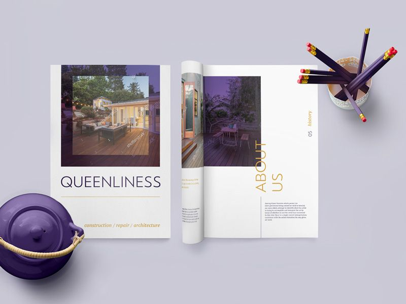 Queenliness Real Estate Brochure Template  Free Ui Kits