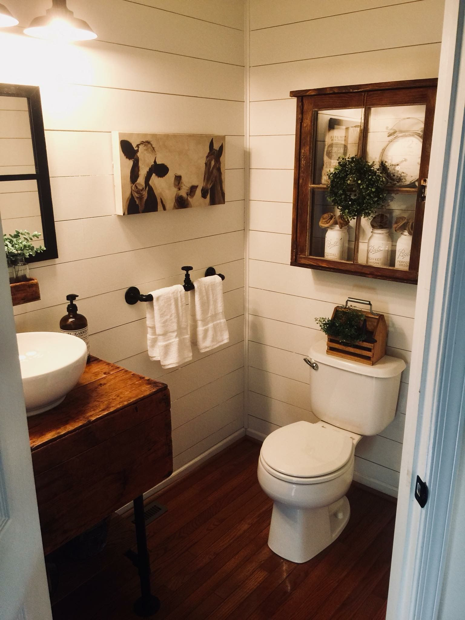 Love the picture cow pig horse Laundry In Bathroom Basement Bathroom Bathroom Renos
