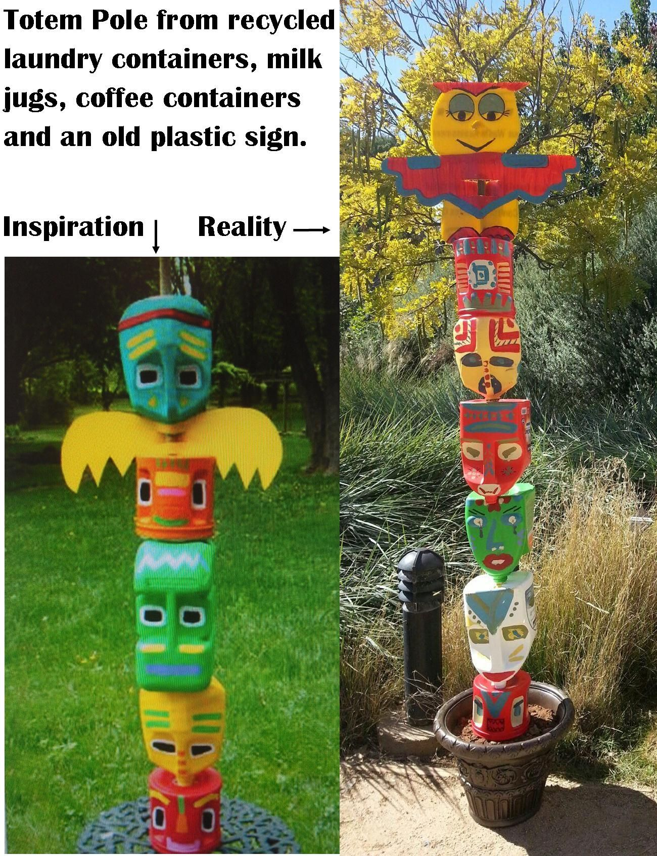 recycled totem pole have an old clothes line pole cemented in the