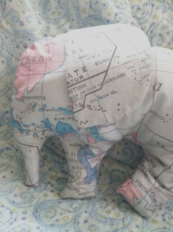 How To Make Cute Pillows Out Of Fabric : Elephant Shaped pillow -Baby Elephant - Nursery pillow - map fabric - cute, children s decor ...