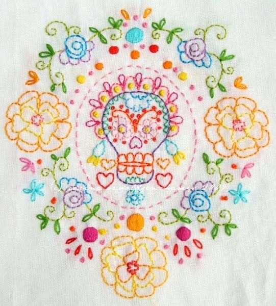 Skull Embroidery Calaveras Pinterest Embroidery Mexican