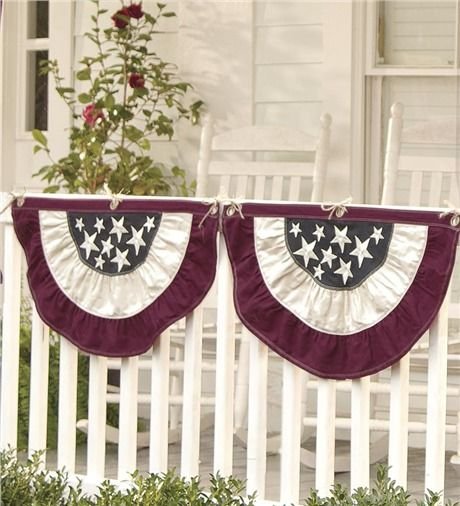 Large Half Round Americana Flag Bunting 60 1 2 W X 31 1 4 H Deck Patio Accents Patriotic Bunting Vintage Bunting Fromt Porch Ideas