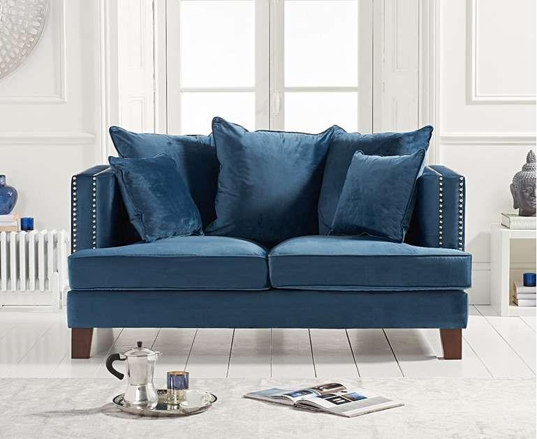 Constantine Blue Velvet 2 Seater Sofa In 2020 2 Seater Sofa Blue Velvet Sofa