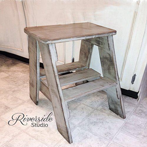 amazon com rustic wood step stool shabby chic furniture bedroom rh in pinterest com