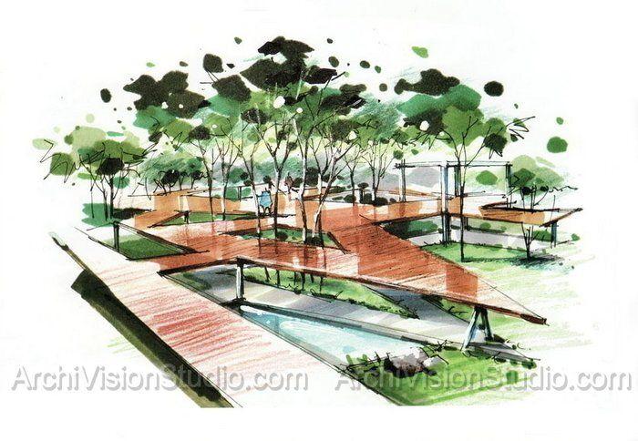 Garden Illustrator Landscape Rendering Landscape Architecture Graphics Landscape Design Architecture Graphics