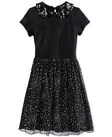 Jessica Simpson Girls' Shareen Star-Print Peter Pan-Collar Dress