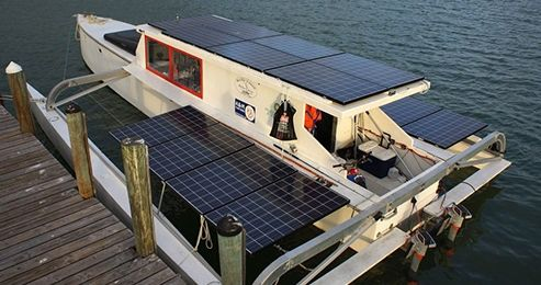 Solar Powered Boat Embarks On Guinness Book Of World Records Voyage Solar Yacht Solar Panels Solar