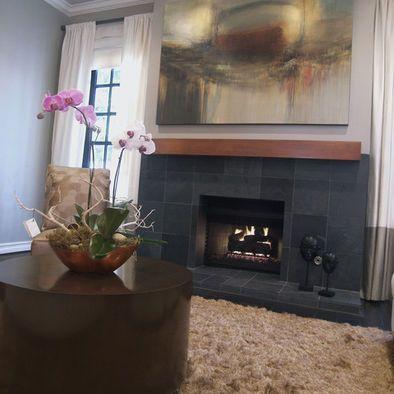 modern gray slate tile fireplace design pictures remodel decor rh pinterest com