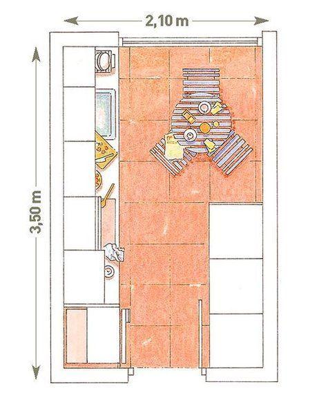 Plano de cocina con dos frentes paralelos cocina for Planos para hacer una cocina integral