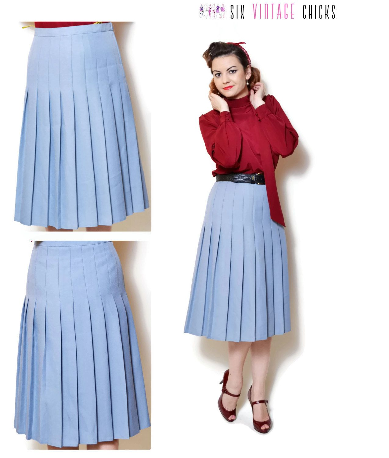 80s a line skirt round midi pleated midis flippy skirts light blue ...